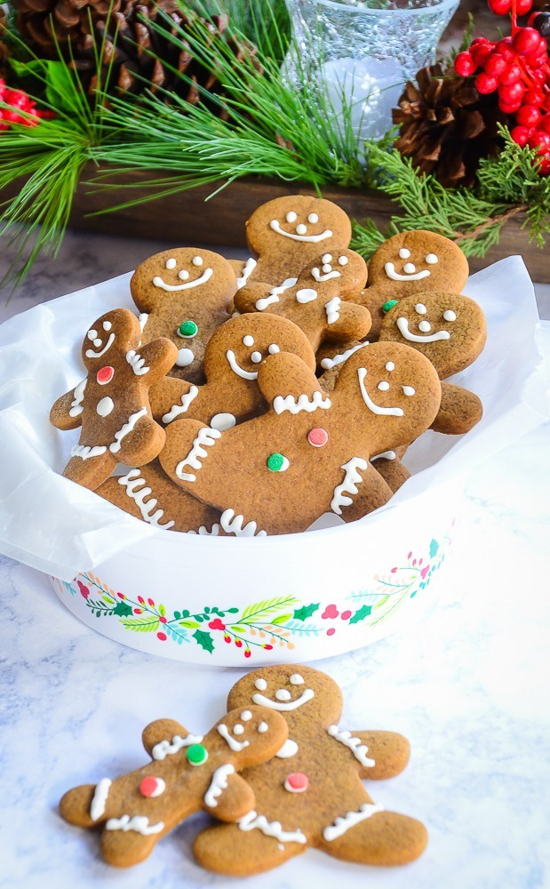 Decorated gingerbread cookies in a cookie time for holiday gift giving.