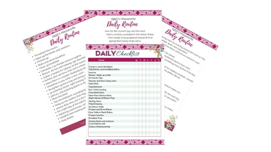4 PDFs displaying the 1950's housewife daily routine, and a daily cleaning and chore checklist.